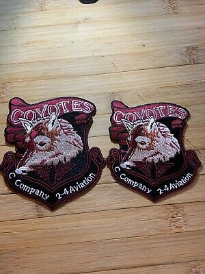 1980s/1990s? 2-US ARMY PATCHES-COYOTES-2-4 AVIATION C. Company-ORIGINALS!