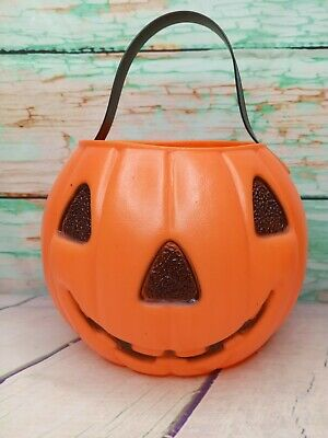 Vintage Renzi Halloween Double Sided Blow Mold Pumpkin Trick or Treat Bucket