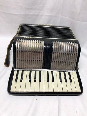Vintage Camerano Accordion Black 16-76 Made in Italy Holds Air Makes Sound