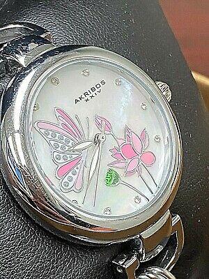 Women's Akribos XXIV AK934SS Mother of Pearl Butterfly Dial Design Link Watch