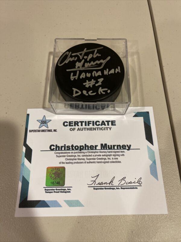Autographed Christopher Murney Signed Hockey Puck Hanrahan Slapshot Duck Ssg Coa