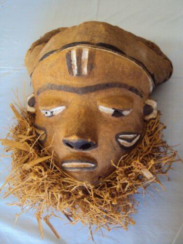 PENDE MASK 2  Headdress Raffia African Carving!!