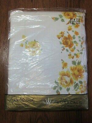 Fieldcrest Flat Sheet - Vintage Fieldcrest Full Flat Sheet  Yellow Sweetheart Rose