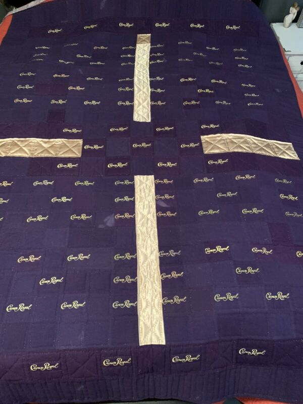 Purple & Gold Crown Royal Large Quilt / Throw