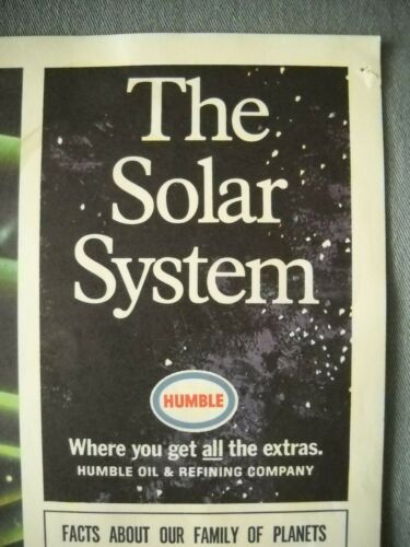 """""""THE SOLAR SYSTEM"""" CHART HUMBLE OIL AND REFINING CO PETROLANIA TRAVEL TO MARS"""