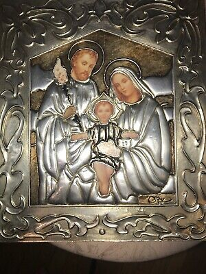 RELIGIOUS ICON WALL Plaque Holy Family Mixed material Beautiful handmade Signed