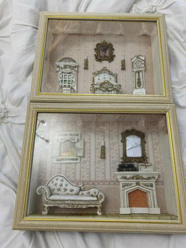 Rare Vintage Shadow Box / Picture Frame Antique Bedroom Scene