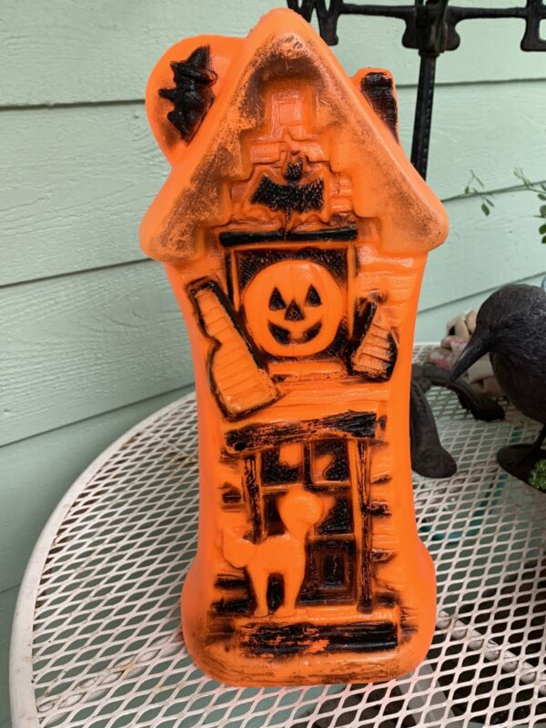 """Vintage Halloween 17"""" Lighted Blow Mold Haunted House Bat Cat Witch Pumpkin"""