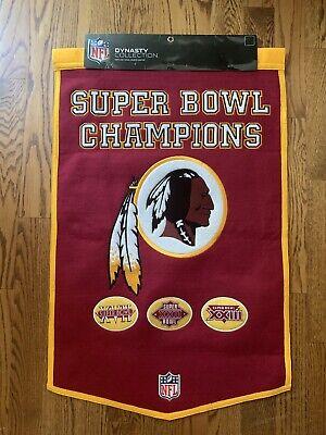 "Washington Redskins Super Bowl Wool Banner - NFL Dynasty Collection 24""x 37"""