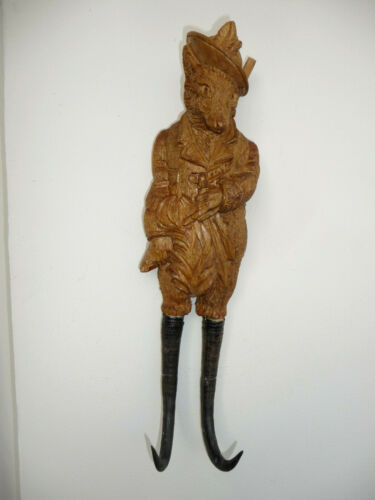 BLACK FOREST FIGURAL CARVED WOOD WHIP, HAT,COAT WALL HOOK of a FOX as A HUNTER