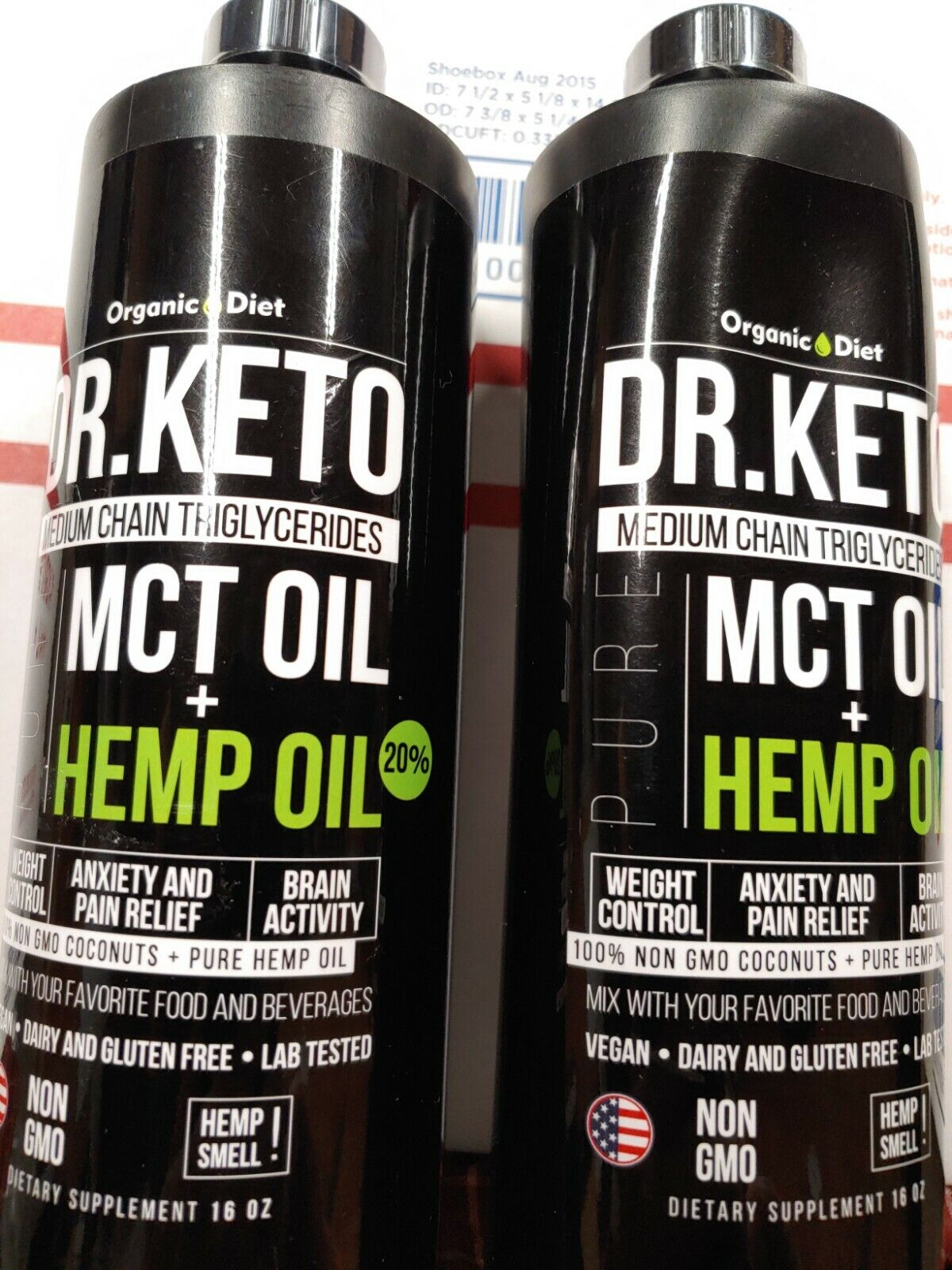 Organic Diet Dr. Keto MCT Oil + Hemp Oil 16 Oz.  Lot of 2. Non GMO