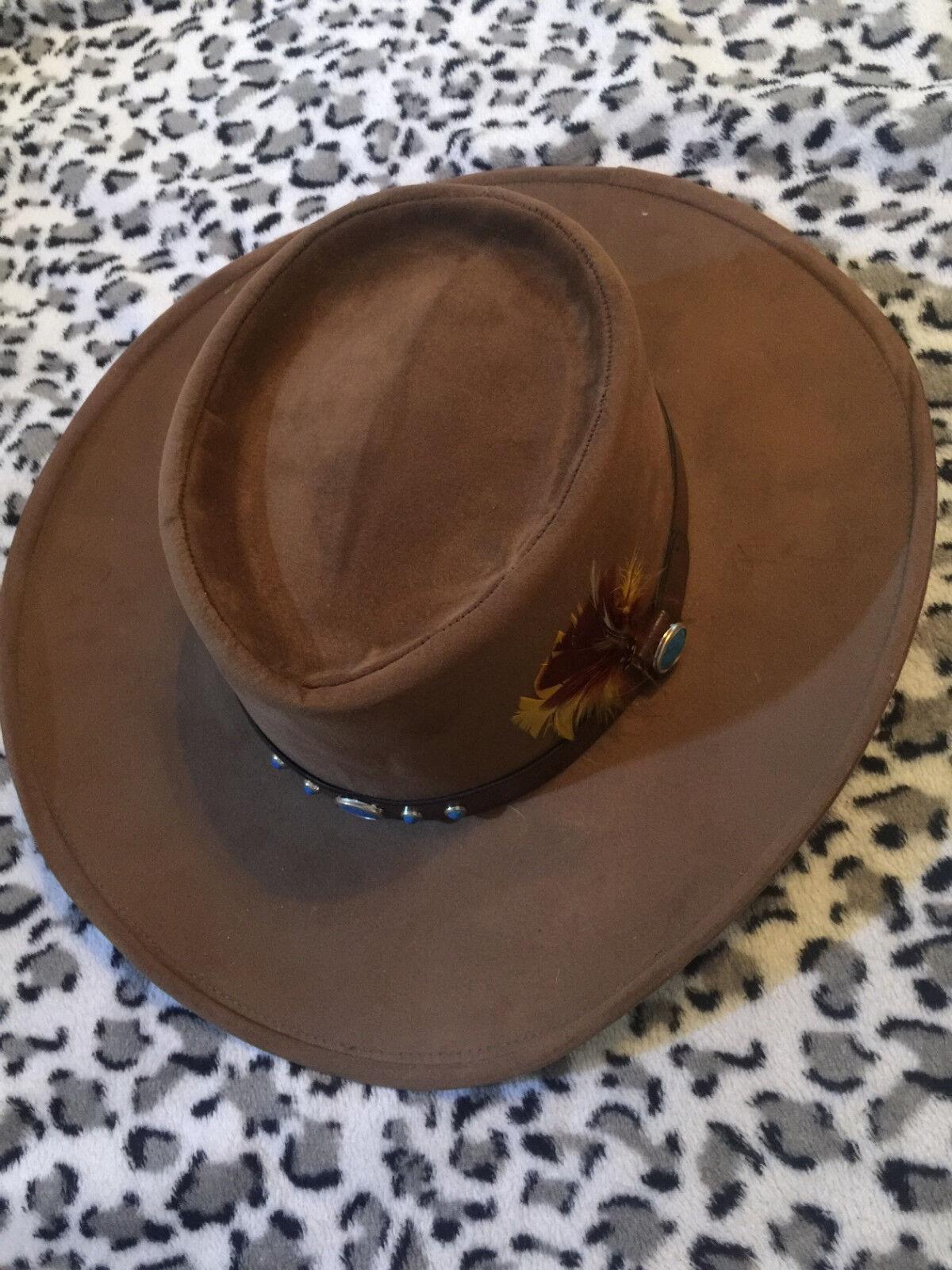 BAILEY U-Rollit GAMBLER Cowboyhut Westernhut Hut Federn Schmucksteine braun NEU