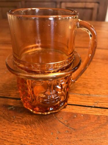 Vintage Mr Peanut Pink Depression Glass Cup Mug