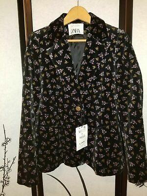 ZARA PRINTED VELVET JACKET Black 8705/730 Size M