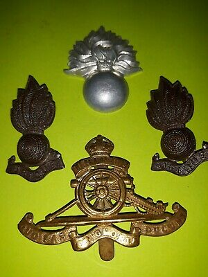 Used, 4x Royal Artillery Cap And Shoulder Pin Badges British Army Regiment Ubique  for sale  Shipping to Ireland