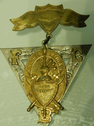 "Knights of Pythias FCB Fraternal Pin Pinback Medal Badge 3"" x 2.25"""