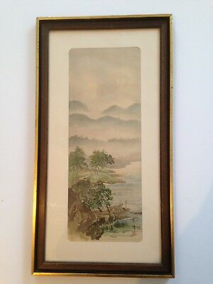 Antique Asian Painting Japanese or Chinese on silk framed Signed NO RESERVE