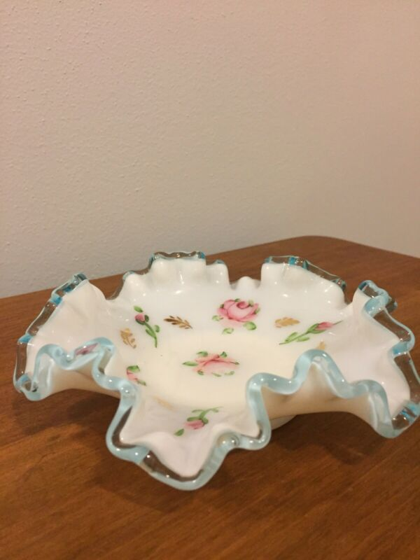 "Antique 6"" Glass Floral Candy Dish"