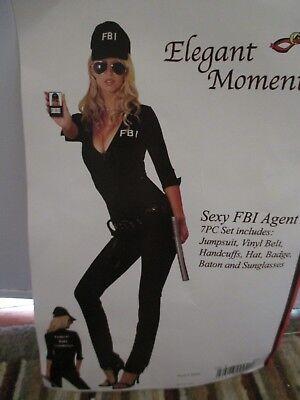 Womens Halloween Costume Sexy FBI Agent Jumpsuit Small Medium 8 10 - Halloween Costumes Fbi