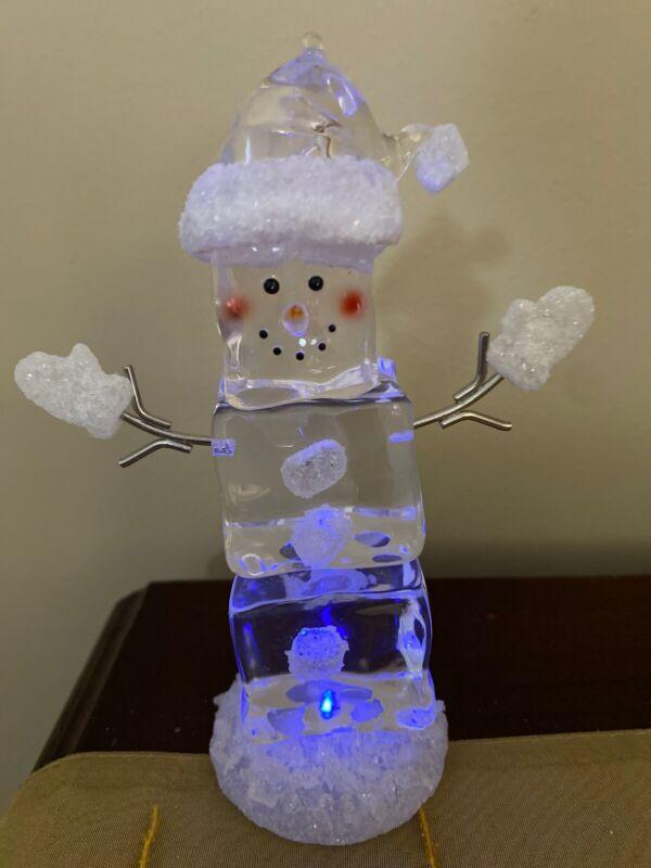Snowman Light Up Clear Acrylic Ice Cube Christmas Snowmen Decor Ornaments