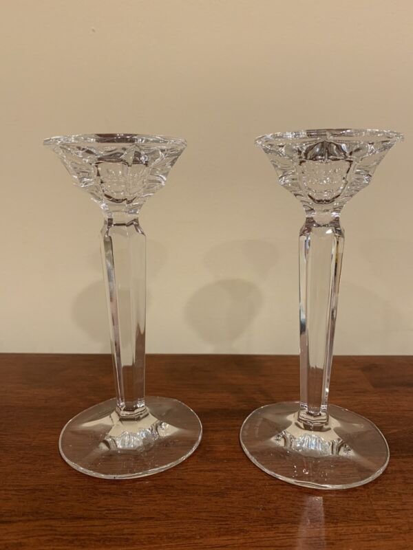 Ralph Lauren Tapered Column Crystal Glass Candlesticks Candleholders Signed