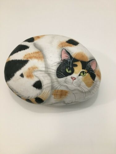 Calico Cat Hand Painted Calico Cat on Rock