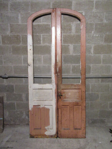 ~ ANTIQUE DOUBLE ENTRANCE FRENCH DOORS SEMI ARCHED TOP ~ 44 X 99 ~ SALVAGE