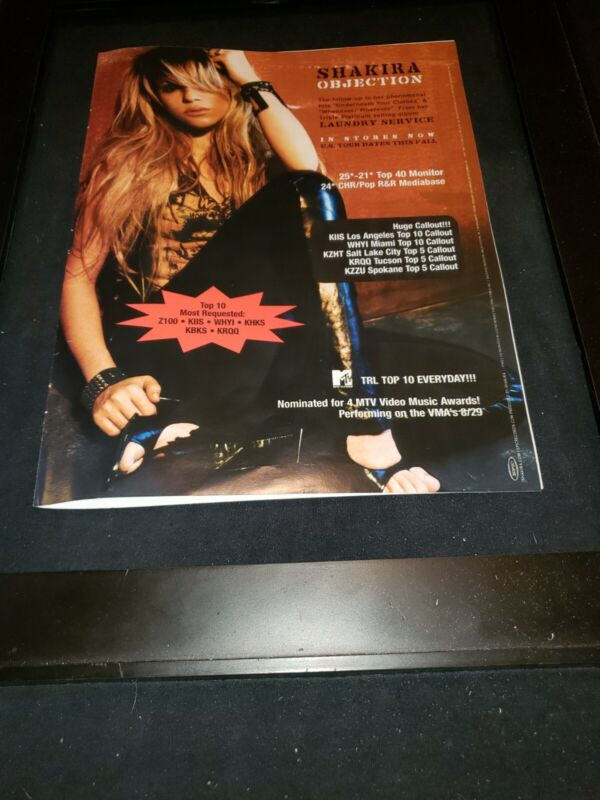Shakira Objection Rare Original Radio Promo Poster Ad Framed!