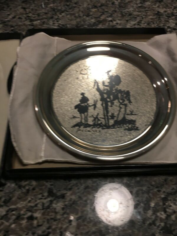 "Picasso""Don Quixote De La Mancha"" Sterling Silver Mint Plate Charger-Certificate"