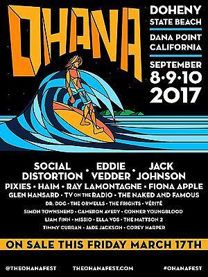 OHANA 2017 CONCERT POSTER: Social Distortion, Eddie Vedder, Jack Johnson, Pixies