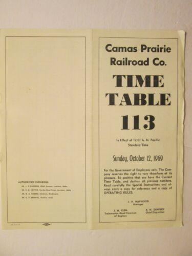 Camas Prairie Railroad Time Table No. 113 1969