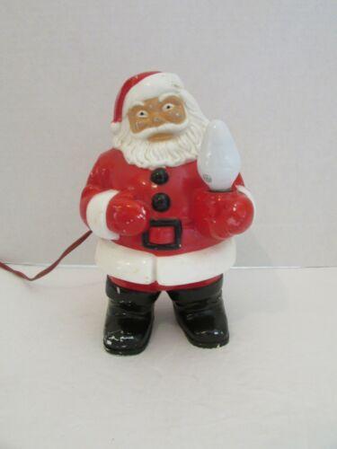 """Royal Hard Plastic Santa Holding Light vtg 7.5"""" Tall vtg Christmas"""