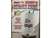 Rule 1800 GPH Automatic Sump and Utility Pump A53S 110V AC Portable 8/' Cord