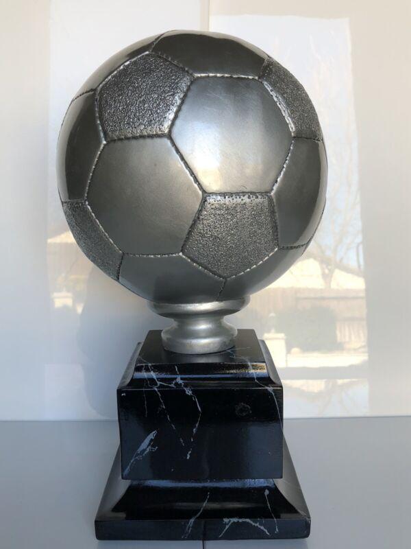 14-1/2 Inch Silver Tone Soccer Ball Trophy