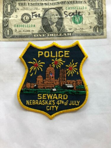 Very Rare Seward Nebraska Police Patch Un-sewn in great shape