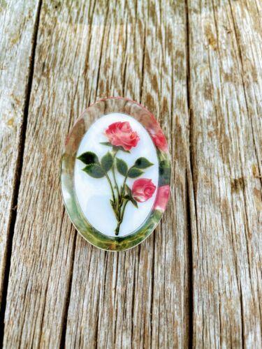 Vintage Reversed Carved Lucite Rose Flower Brooch