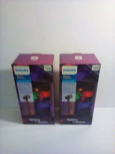 2 X Philips Halloween Motion Projector Multi Color Rotating Spider Indoor/Outdoo