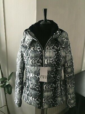 BNWT Zara Snake Print Puffer Padded Down Jacket Coat - Size L for sale  Shipping to Ireland