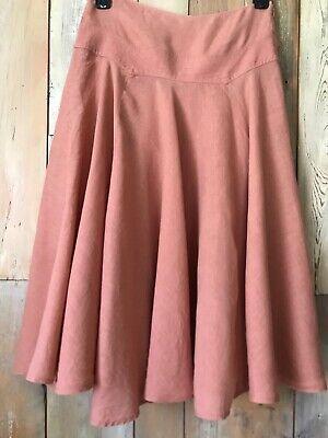 DKNY Donna Karan Linen Midi Skirt Terra Cotta Size 4