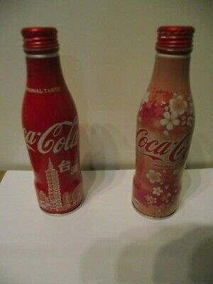 2 Coca Cola aluminium bottles from Taiwan used empty - very Limited Edition