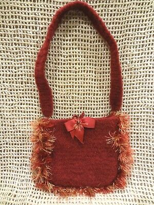 Very Soft Felted Wool Purse Bag Maroon Burgundy with Colorful Trim ~ NEW