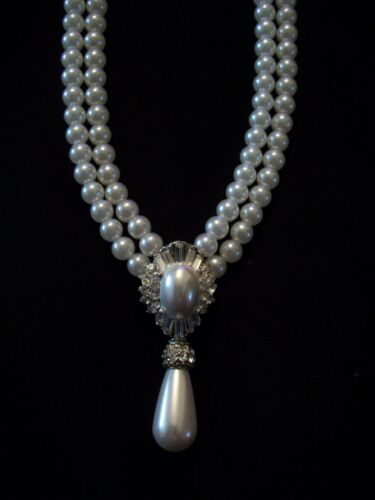 WEDDING BRIDAL 2 ROW PEARL CRYSTAL RHINESTONE NECKLACE SILVER PLATED JEWELRY