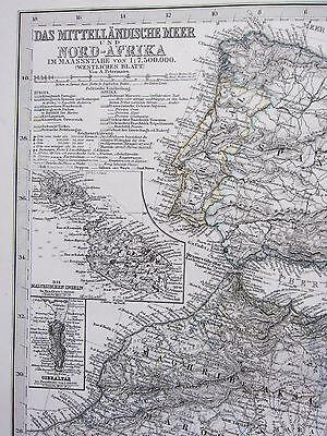 1870 DATED MAP ~ NORTH AFRICA MALTA GIBRALTA WEST MEDITERRANIAN ~ ADOLF STIELER
