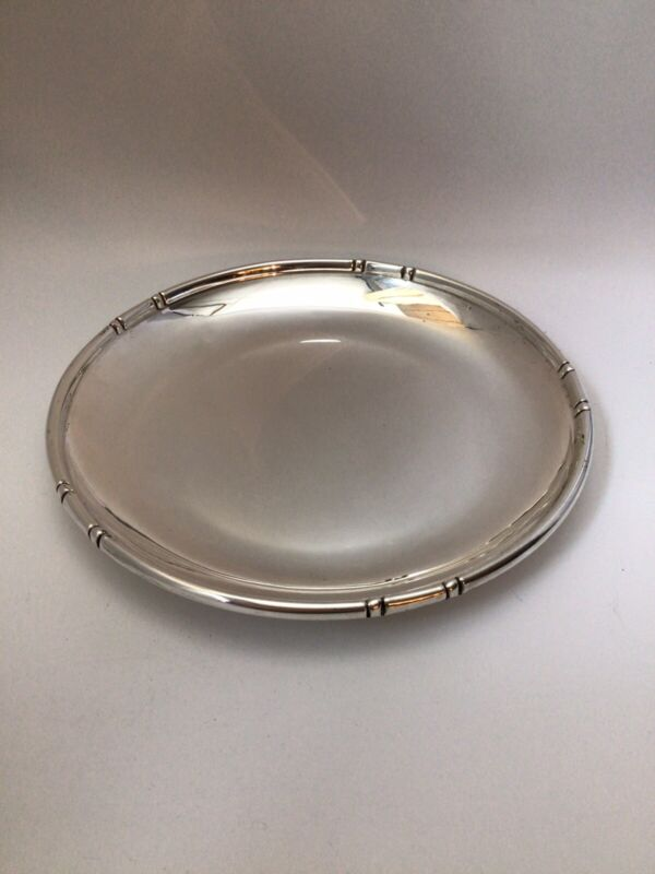 """Vintage - Bamboo Plate - Baldwin & Miller  - Sterling Silver - 8 1/2"""" X 1"""""""