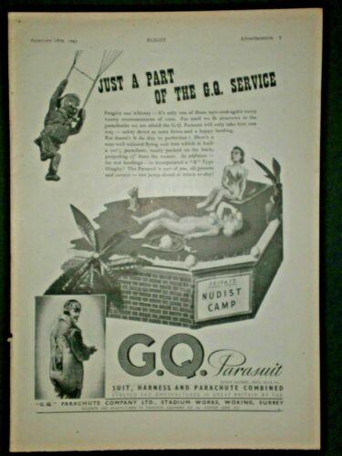 1943 PARATROOPER NUDE WOMAN SUNBATHING G.Q. PARACHUTE  WWII vtg Trade print ad