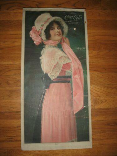 Antique 1914 Coca-Cola Calendar Advertising Print to Frame Betty