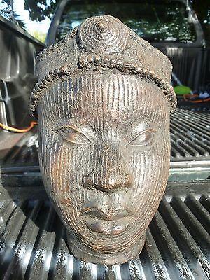 FINE 20TH C CASTING AFRICAN ART BENIN BRONZE OF AN AFRICAN PRINCESS