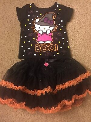 Hello Kitty Halloween Witch BOO Outfit Shirt Tutu Ruffle Skirt Orange Black 18m - Halloween Witch Outfits