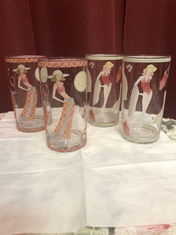 Tom Collins Vintage Glasses Tumblers Highball Iced Tea Vintage Beach set of 4