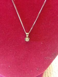 14 kt Gold 18 Inch Necklace and Diamond Pendant